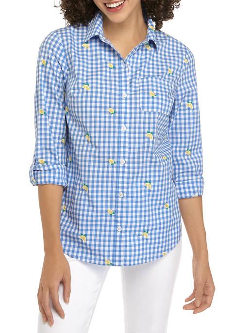Petite Roll Tab Lemon Embroidered Yarn Dye Shirt