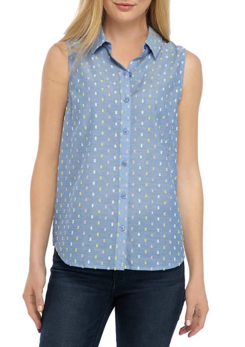Kim Rogers® Petite Sleeveless Clip Dot Top