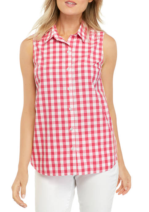 Kim Rogers® Petite Sleeveless Button Down Shirt
