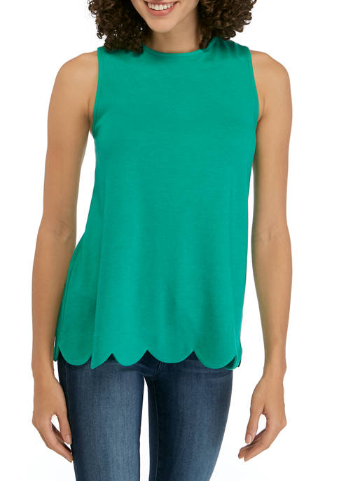 Kim Rogers® Petite Sleeveless Solid Scallop Top