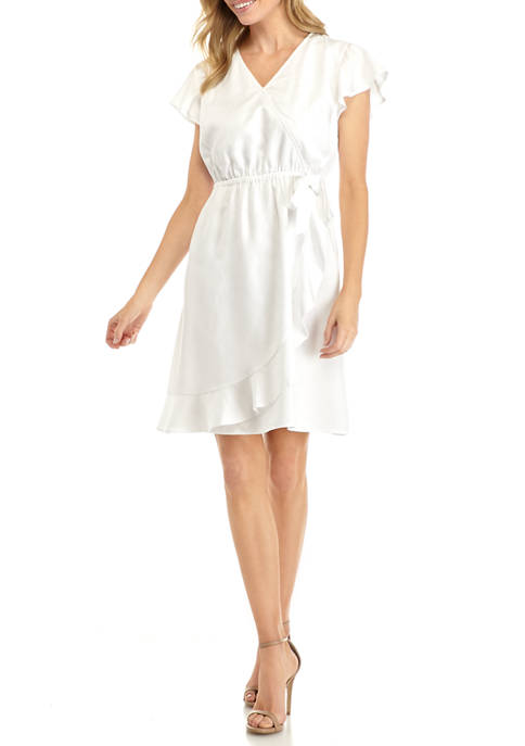 Kim Rogers® Petite Flutter Sleeve Wrap Dress