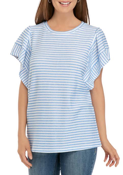 Kim Rogers® Petite Flutter Sleeve Yarn Dye Top