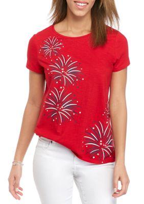 Kim Rogers Womens Petite Short Sleeve Embroidered Art T-Shirt