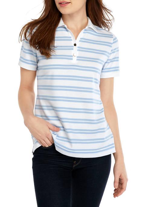 Petite Short Sleeve Yarn Dye Stripe Polo Shirt