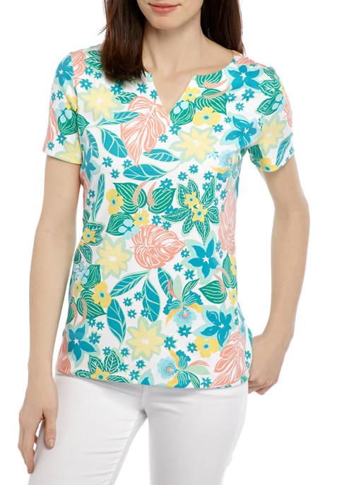 Kim Rogers® Petite Short Sleeve Split Neck Printed