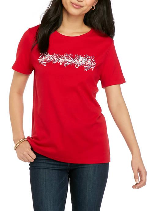 Kim Rogers® Petite Short Sleeve Graphic Top
