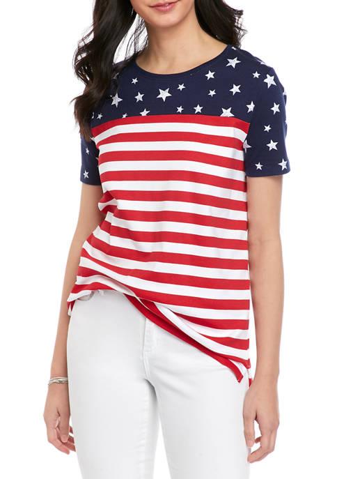 Kim Rogers® Petite Short Sleeve Star Stripe T-Shirt