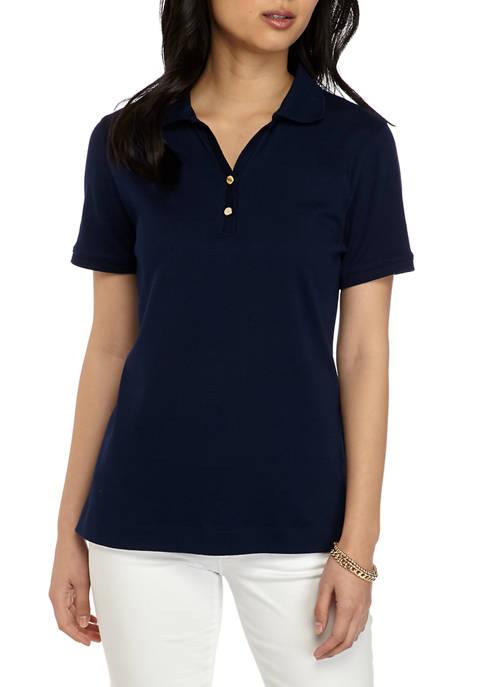 Kim Rogers® Petite Short Sleeve Polo Shirt