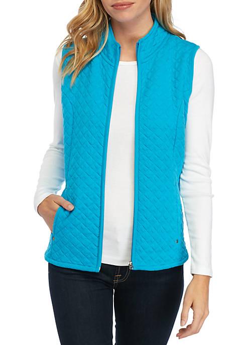 Petite Solid Zip Vest