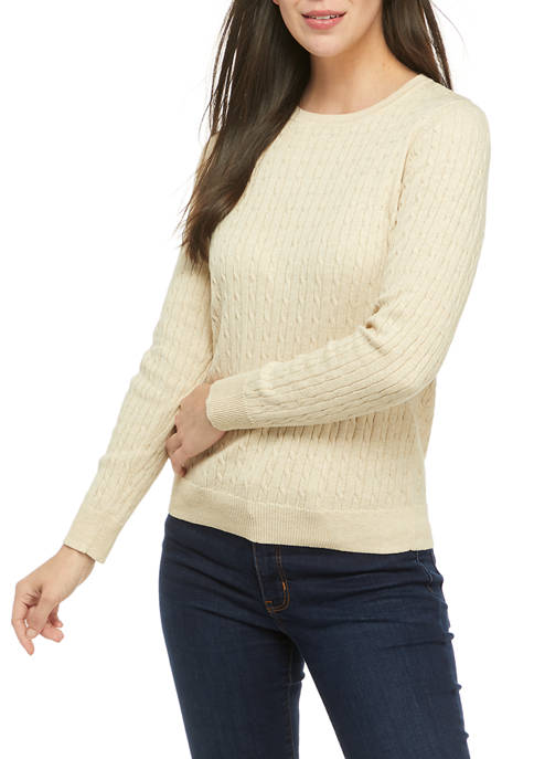 Kim Rogers® Petite Long Sleeve Cable Knit Sweater