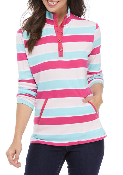 Kim Rogers® Petite Long Sleeve Button Placket Top