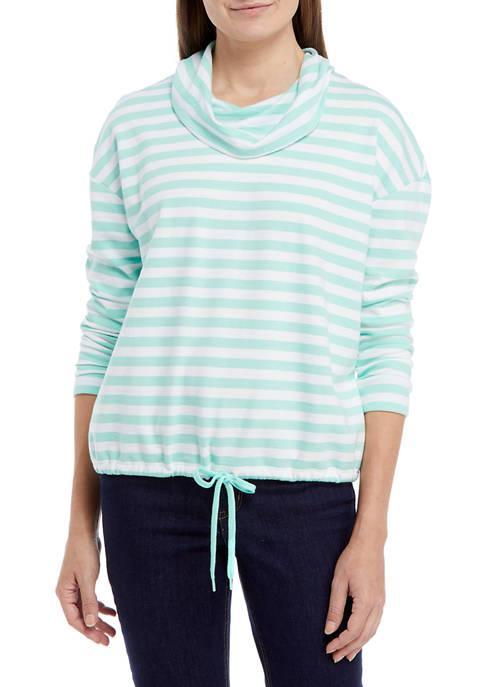 Kim Rogers® Petite Long Sleeve Cowl Neck Tied