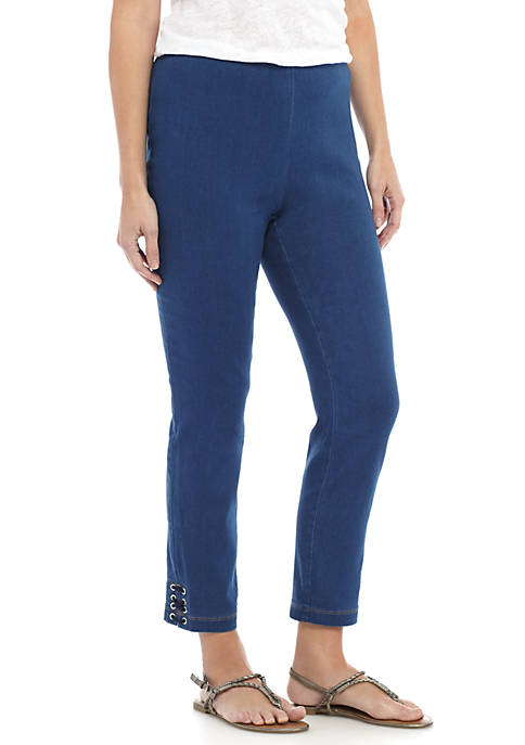 Kim Rogers® Denim Lace-Up Pull-On Pants
