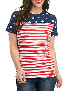 Kim Rogers® Petite Short Sleeve American Flag T Shirt