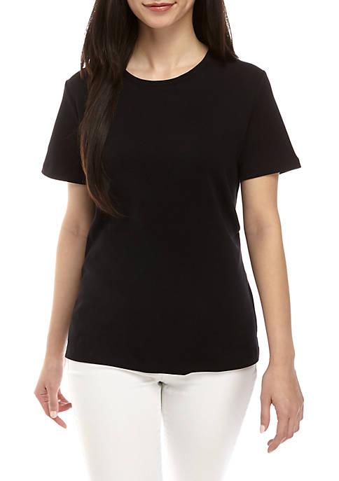 Kim Rogers® Petite Interlock Crew Neck Fashion Tee