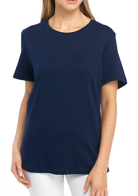 Kim Rogers® Petite Interlock Crew Neck Fashion Tee