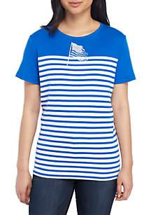 Kim Rogers® Petite Short Sleeve Color Block Flag T Shirt