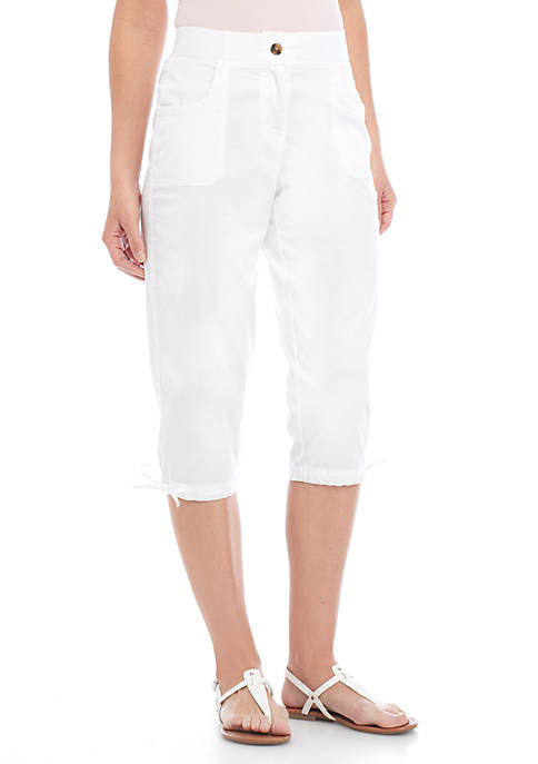 Kim Rogers® Petite Size Embroidered Patched Capris