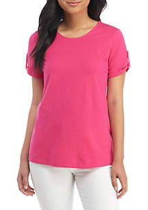 Short Sleeve Button Back Solid Top