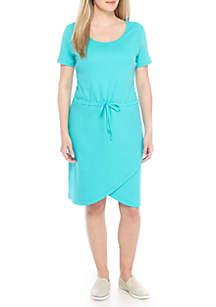 Petite Short Sleeve Tulip Hem Dress