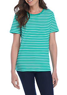 Petite Short Sleeve Stripe T-Shirt