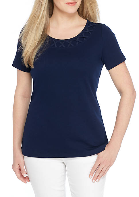 Kim Rogers® Braided Neck Short Sleeve Top