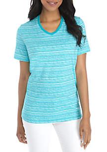 Kim Rogers® Petite Short Sleeve V-Neck Space Dye Tee