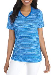 1f3dd2a737f ... Kim Rogers® Petite Short Sleeve V-Neck Space Dye Tee