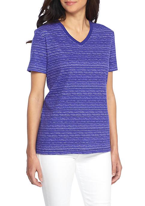 Kim Rogers® Petite Short Sleeve V-Neck Space Dye