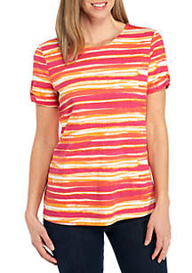 Petite Short Sleeve Button Back Stripe Top