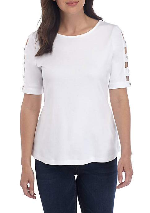 Kim Rogers® Petite Elbow Ladder Sleeve T Shirt