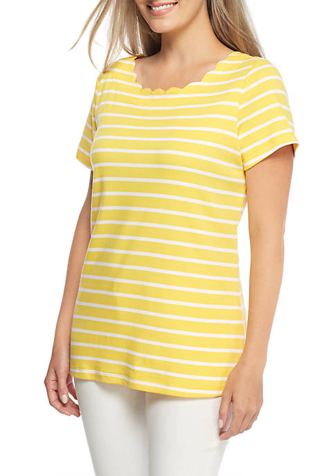 Kim Rogers® Petite Short Sleeve Stripe Scallop Neck