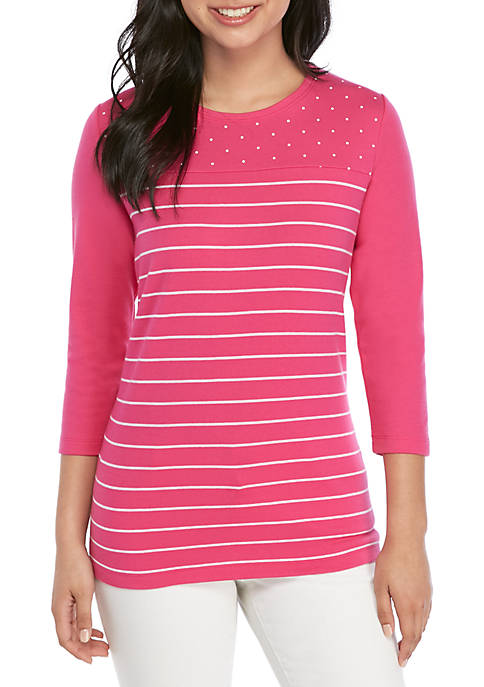 Kim Rogers® Petite 3/4 Sleeve Dot and Stripe