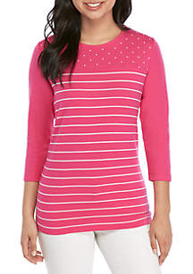 Kim Rogers® Petite 3/4 Sleeve Dot and Stripe Top