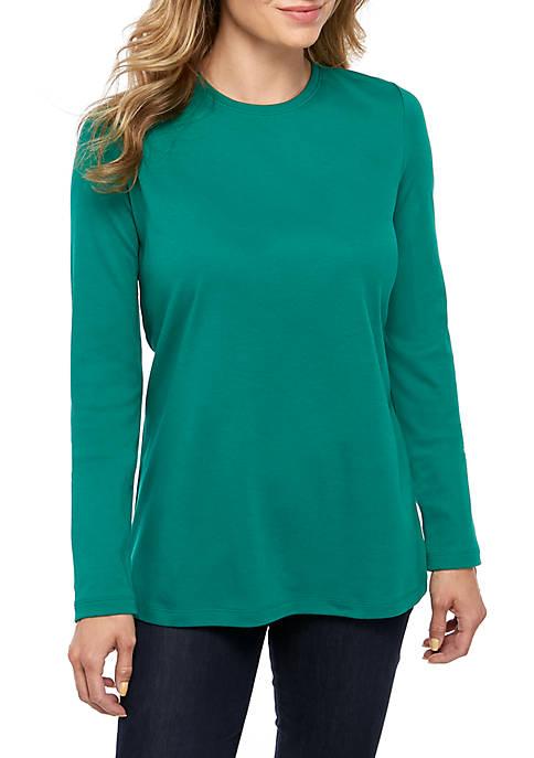 Kim Rogers® Petite Long Sleeve Crew Neck Top