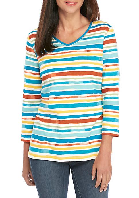 Kim Rogers® Petite V Neck Stripe Print Top