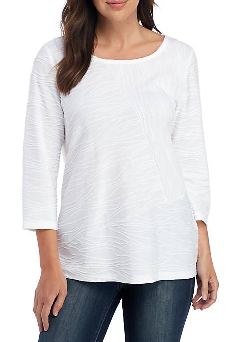 Petite Textured 3/4 Sleeve T Shirt
