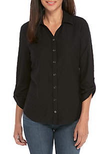 Kim Rogers® Petite 3/4 Roll Tab Sleeve Button Up Textured Top