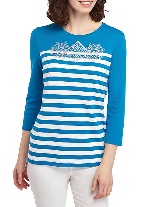 Kim Rogers® Petite 3/4 Sleeve Knit Top