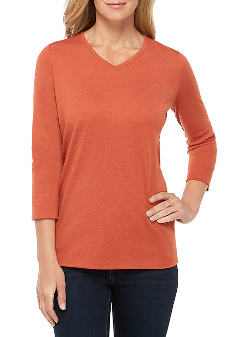 Petite 3/4 Sleeve V Neck T Shirt