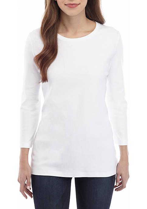 Kim Rogers® Petite 3/4 Sleeve Crew Neck T