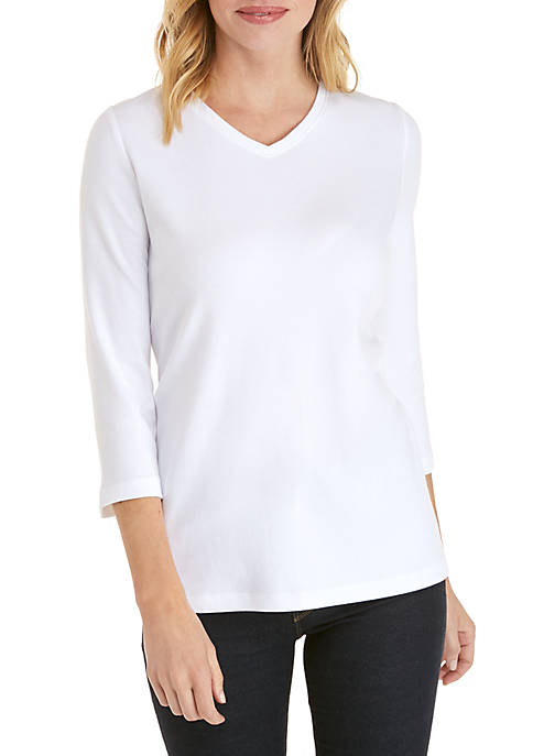 Petite V Neck Solid Essential T Shirt