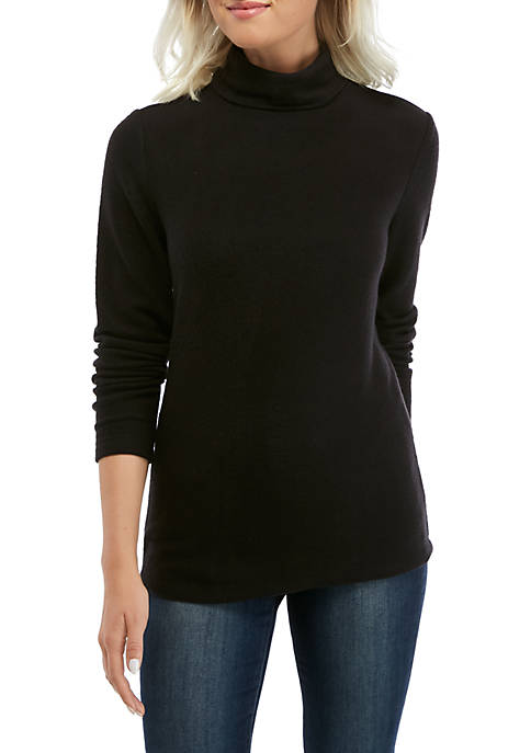 Kim Rogers® Petite Long Sleeve Turtleneck Pullover Top