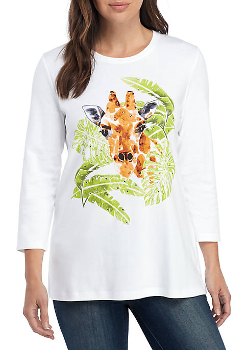 Kim Rogers® Petite 3/4 Sleeve Giraffe Top