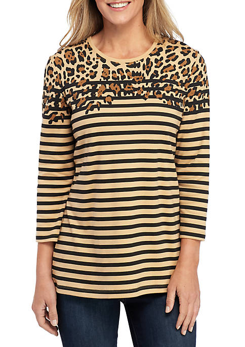 Kim Rogers® Petite 3/4 Sleeve Animal Placement Top