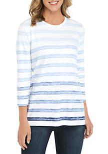 Kim Rogers® Petite 3/4 Sleeve Ombre Stripe Top