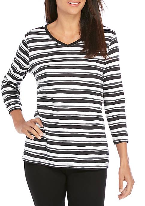 Petite 3/4 Sleeve V Neck Stripe Top