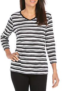 Kim Rogers® Petite 3/4 Sleeve V Neck Stripe Top