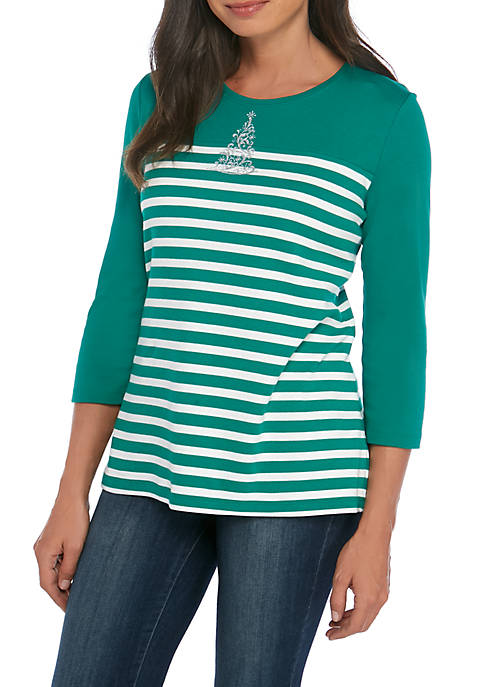 Kim Rogers® Petite 3/4 Sleeve Swirly Tree Top