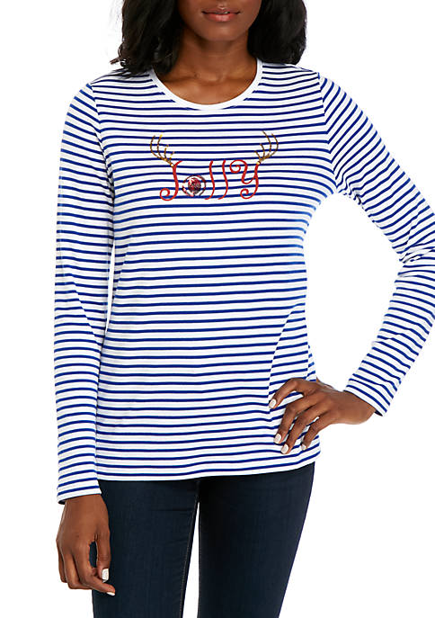 Kim Rogers® Petite Deer Joy Long Sleeve T-Shirt